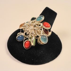 Jewelry - Real Gemstone Cluster Ring Coral Sapphire Jade +